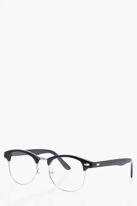 Black Clear Lens Clubmaster Glasses