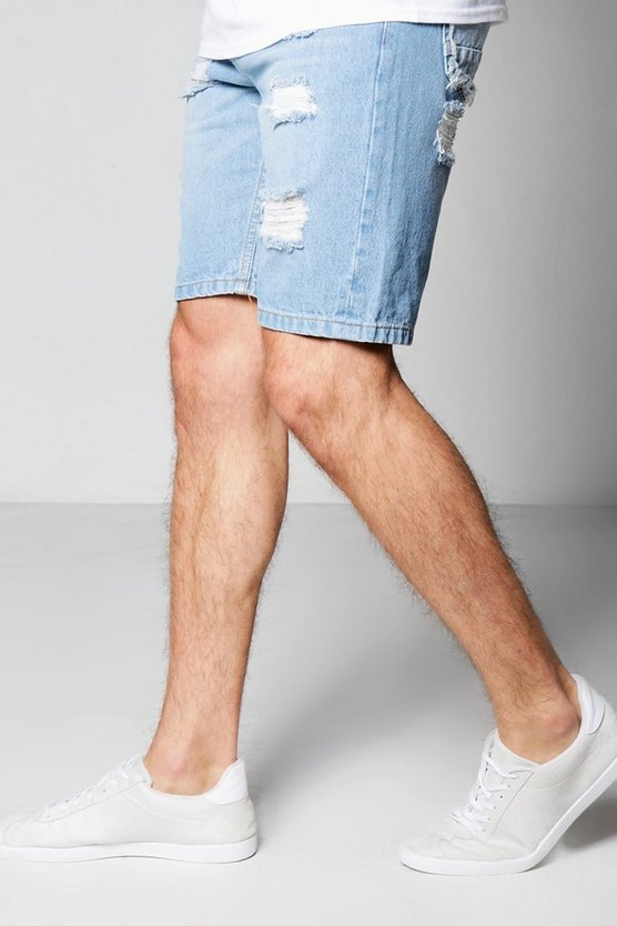 Skinny Fit Rigid Denim Shorts With Rip And Repair