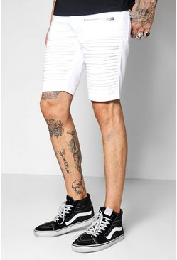 Mens White Biker Skinny Fit Short