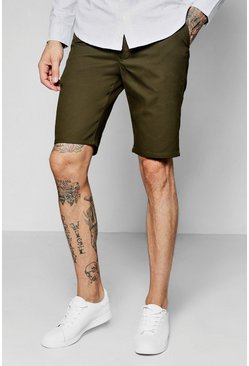 Khaki Slim Fit Chino Short, Uomo