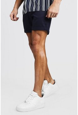 Navy Slim Fit Chino Short, Uomo