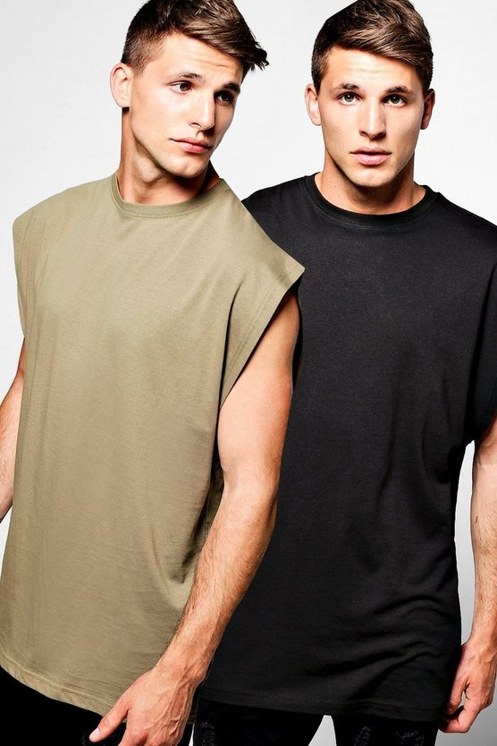 2 Pack Oversized Boxy Fit Drop Arm Hole Vest