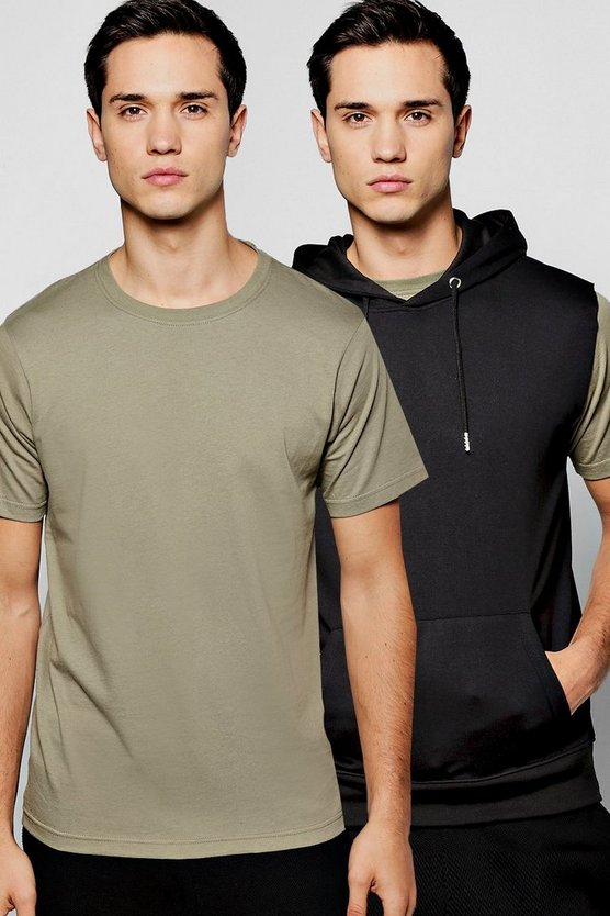 2 Pack Sleeveless Over The Head Hoodie And T-Shirt