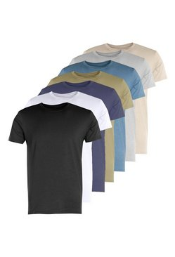 Mens Multi 7 Pack Crew Neck T Shirts Muscle Fit