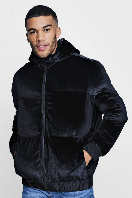 Black Oversized Fit Velour Quilted Jacket