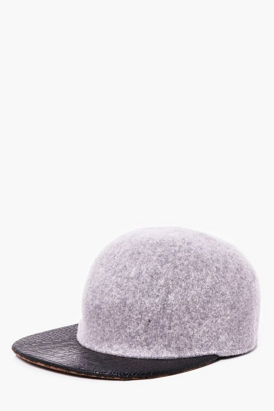 Grey Wool Look Contrast Peak Snap Back Cap