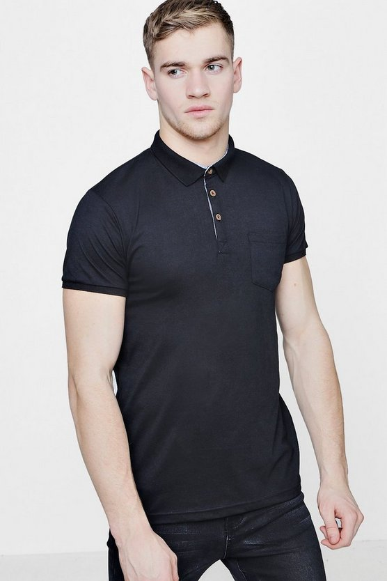 Mens Chest Pocket Short Sleeve Jersey Polo