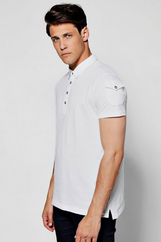 Pique Polo T-Shirt with Military Pocket