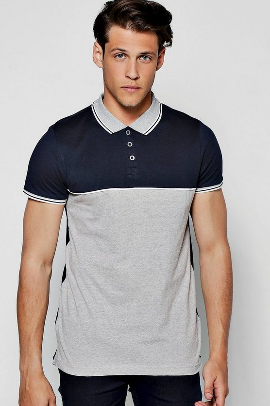 Sports Rib Colour Block Button Polo