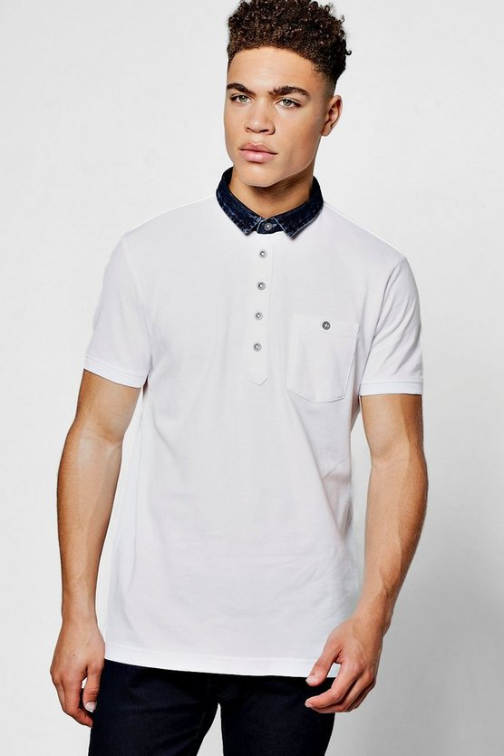 Denim Collar Jersey Polo