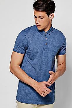 chest pocket short sleeve jersey polo