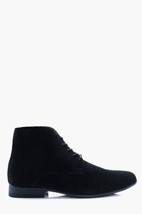 Faux Suede Lace Up Boots