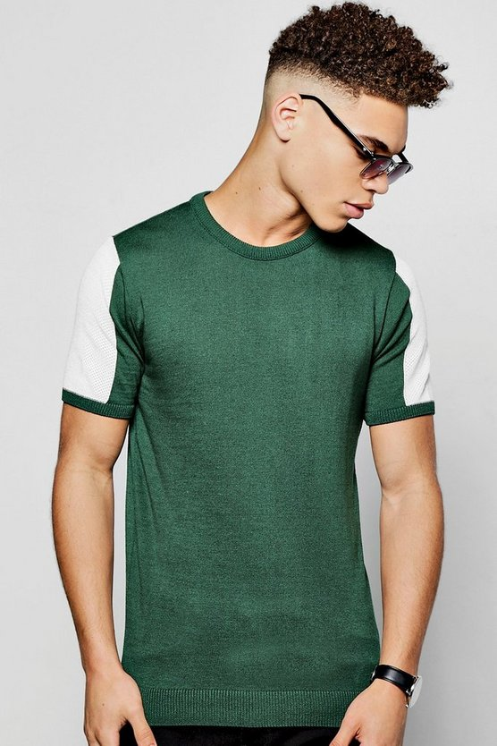 Mens Green Short Sleeve Knitted T-Shirt with Mesh