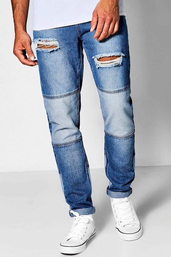 Mid Blue Denim Skinny Fit Patchwork Jeans