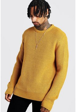 Mens Mustard Crew Neck Fisherman Knit Jumper