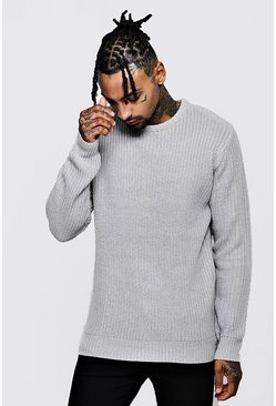 Crew Neck Fisherman Knit Jumper, Grey, Uomo