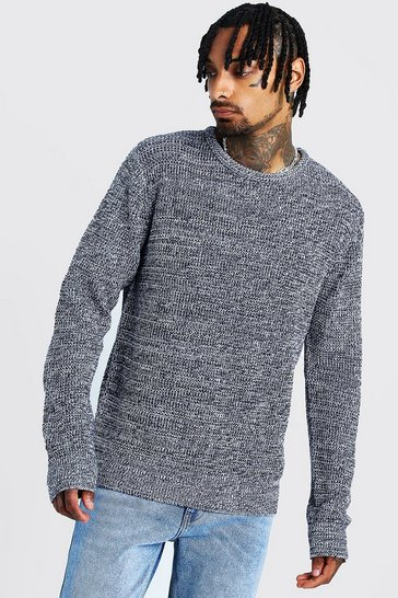 Mens Navy Crew Neck Ribbed Jumper with Twisted Knit