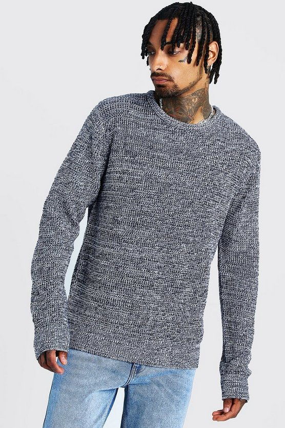 Crew Neck Ribbed Jumper with Twisted Knit