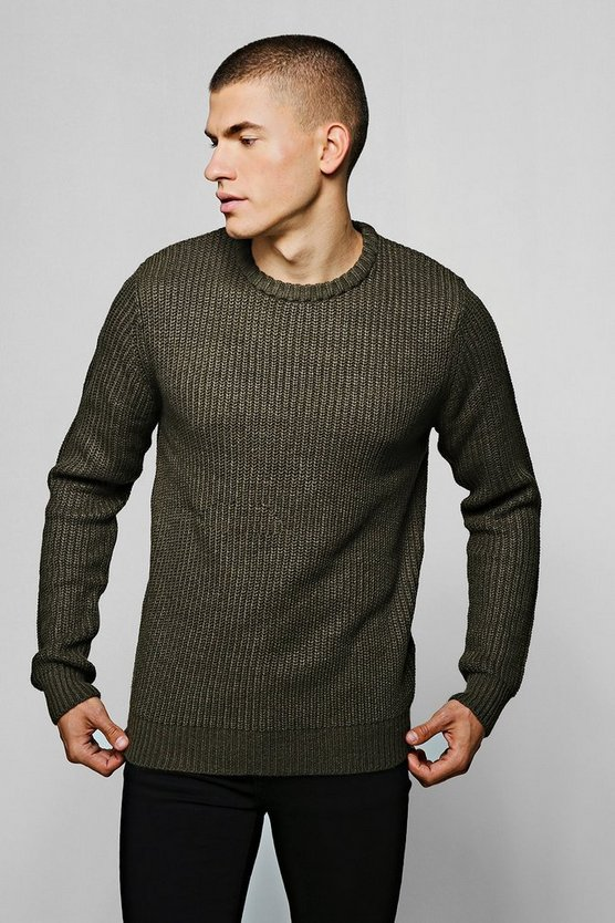 Crew Neck Fisherman Knit Jumper