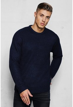 Herr Navy Crew Neck Fisherman Knit Jumper