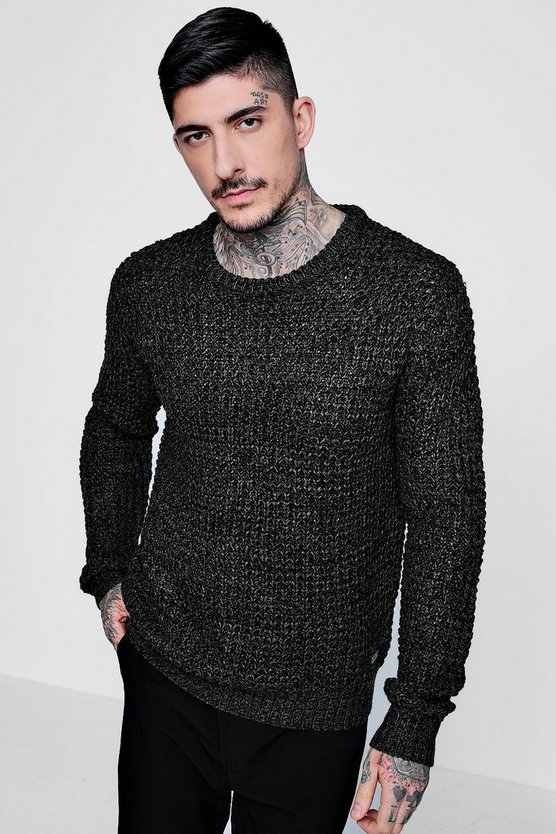 Fisherman Knit Heavy Gauge Crew Neck Jumper