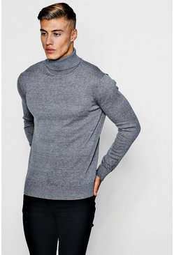 Mens Grey Long Sleeve Knitted Roll Neck Jumper