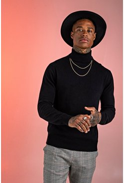 Mens Black Long Sleeve Knitted Roll Neck Jumper