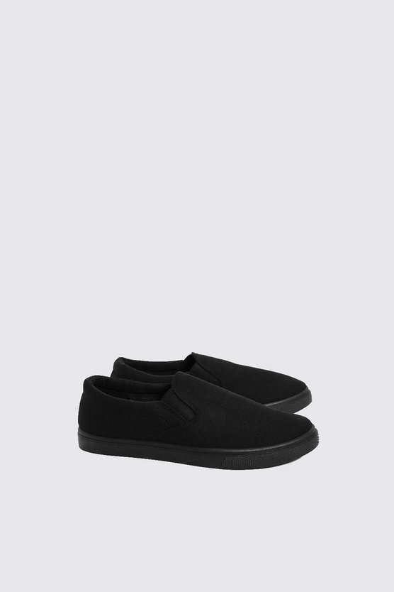 Mens Black Slip On Plimolls