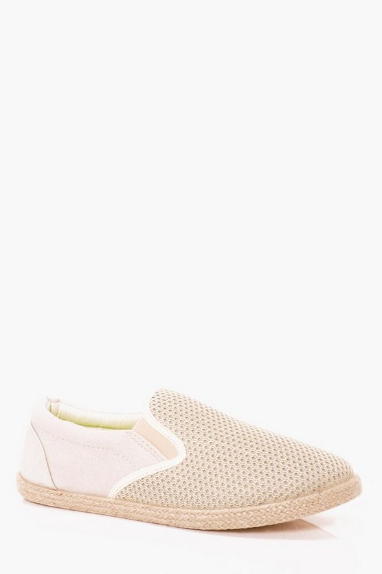 Mens Sand Slip On Plimsolls