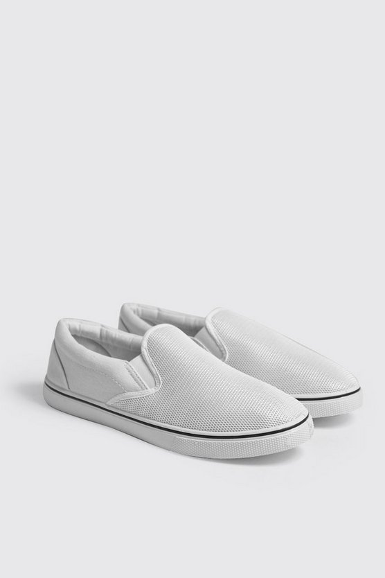 Mens White Slip On Plimsolls