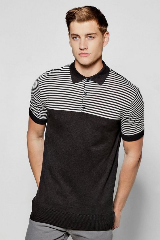 Short Sleeve Knitted Polo With Contrast Stripe Yoke