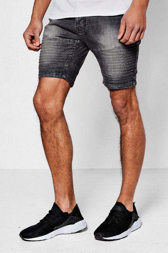 Skinny Fit Washed Grey Denim Biker Shorts