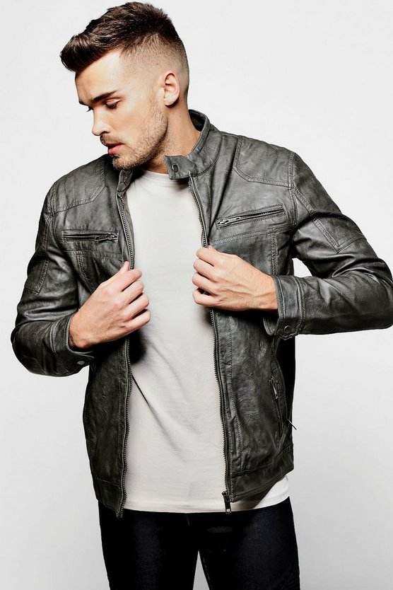 Grandad Collar Multi Zip PU Biker Jacket