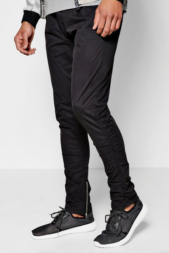 Rouched Leg Finish Chino Trousers