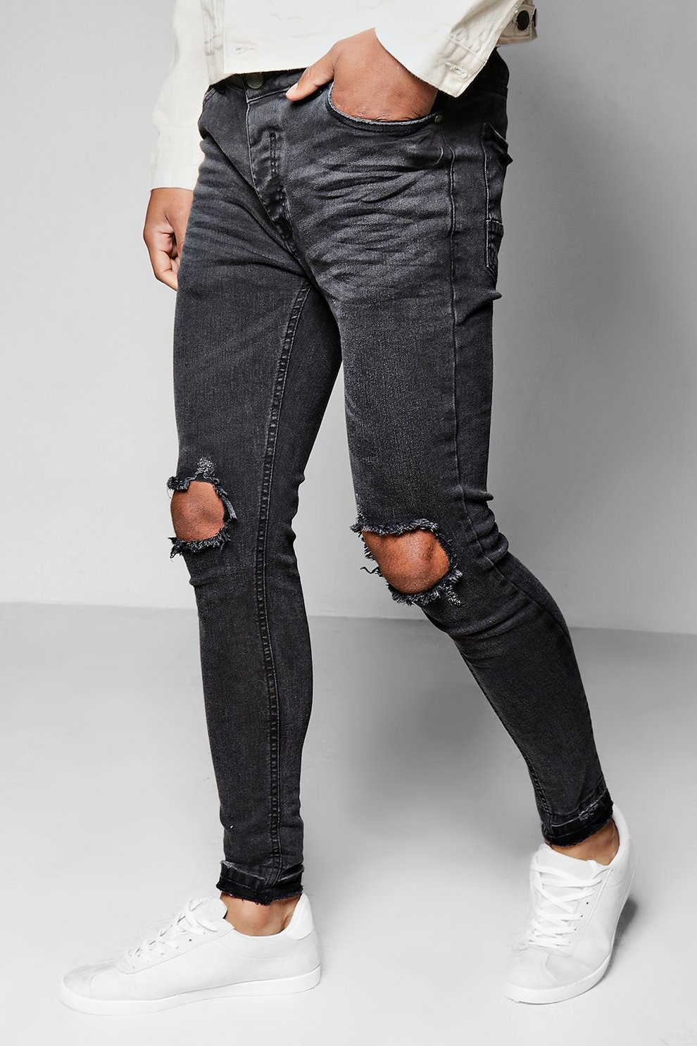 1f3bd6b2d9f Mens Black Skinny Fit Raw Edge Jeans With Open Knee Rips