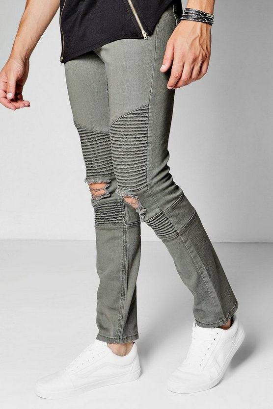 Skinny Fit Khaki Biker Jeans With Distressed Knees