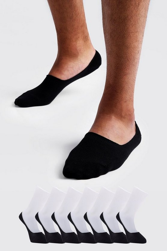 Mens Black 7 Pack Invisible Black Socks Grips