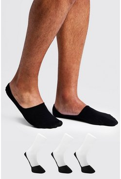 3 Pack Invisible Black Socks With Grips, Uomo