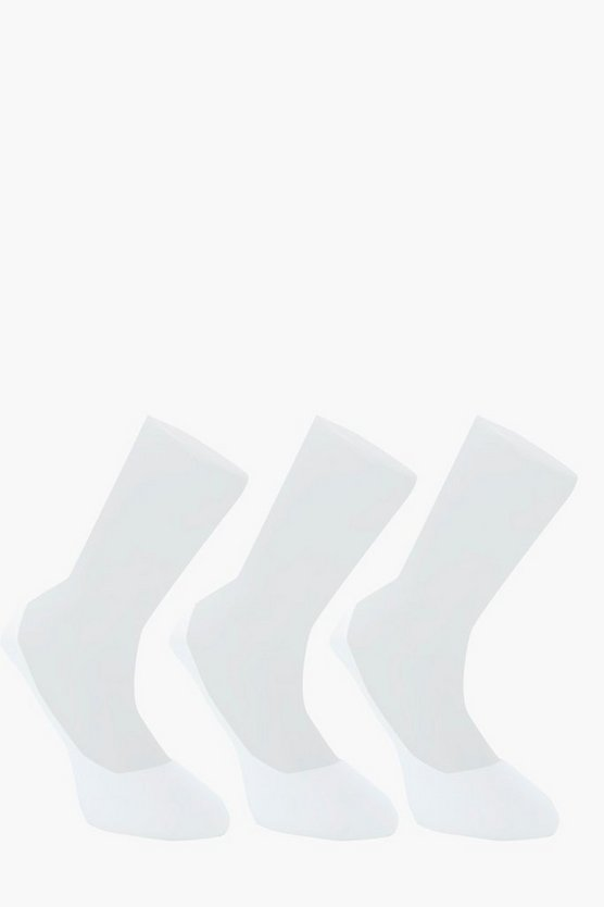 3 Pack Invisible White Socks With Grips