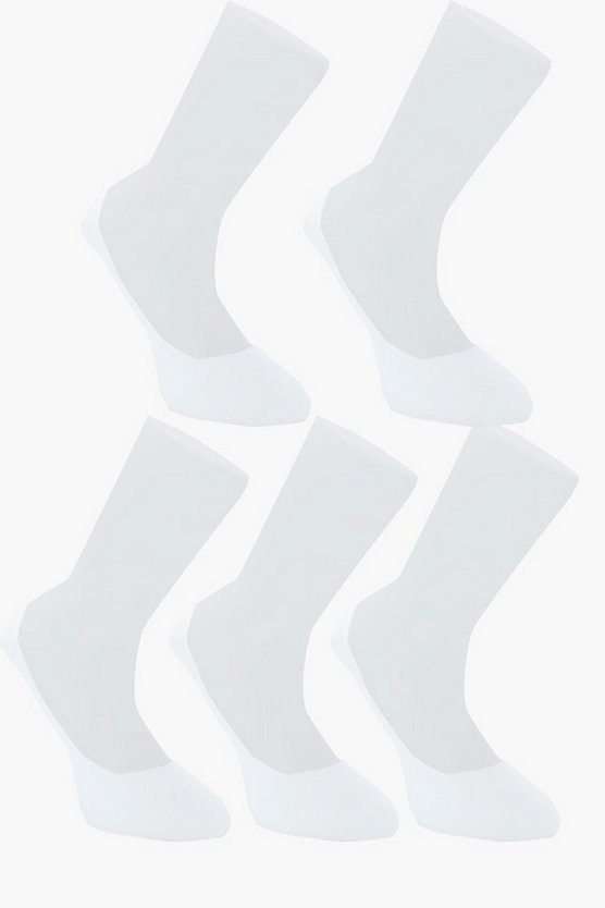 Mens White 5 Pack Invisible White Socks With Grips