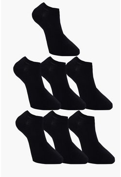 7 Pack Plain Black Trainer Socks, Uomo
