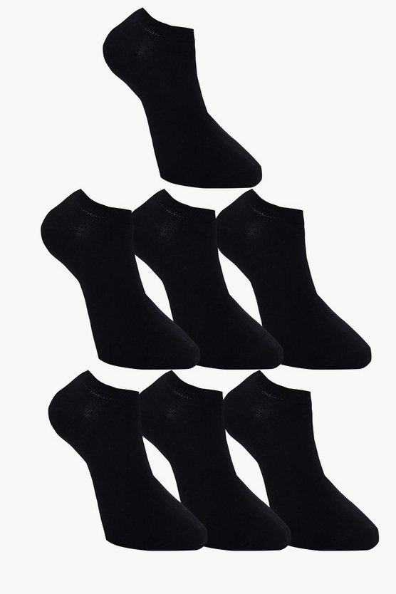 7 Pack Plain Black Trainer Socks