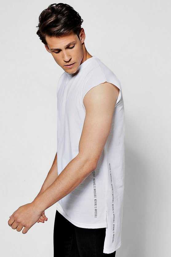 Longline Sleeveless T Shirt With Print & Step Hem