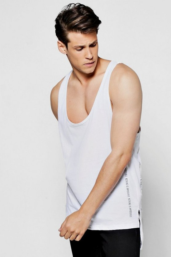 Mens White Longline Racer Vest With Print & Step Hem