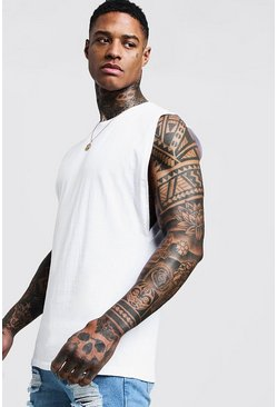Mens White Sleeveless T Shirt With Drop Armhole