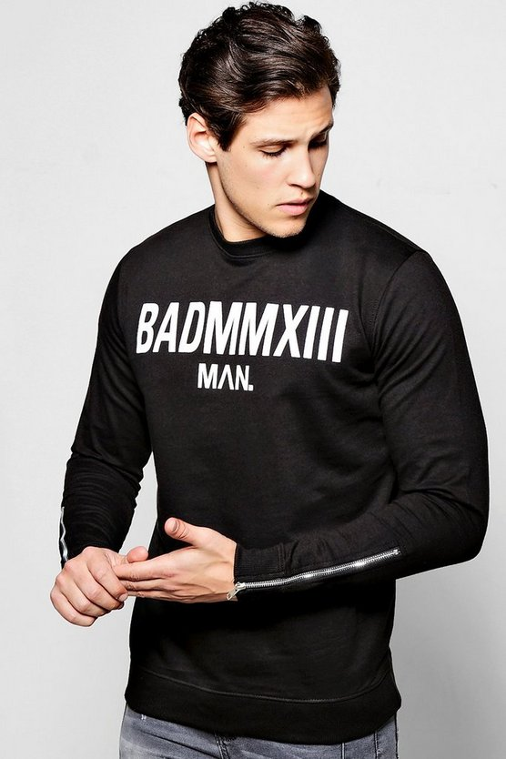Bad Man Print Sweater With Side Zips
