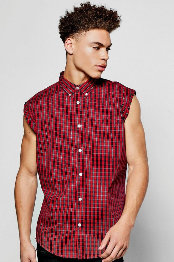 Raw Edge Sleeveless Check Shirt