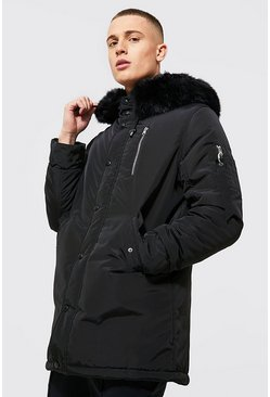 MA1 Parka with Faux Fur Hood, Black, HOMBRE