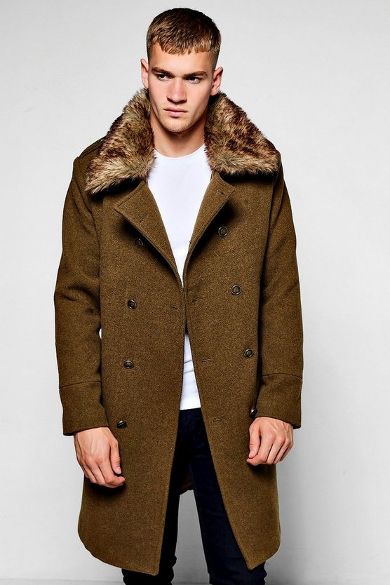 Mens Khaki Military Overcoat with Detachable Faux Fur Collar