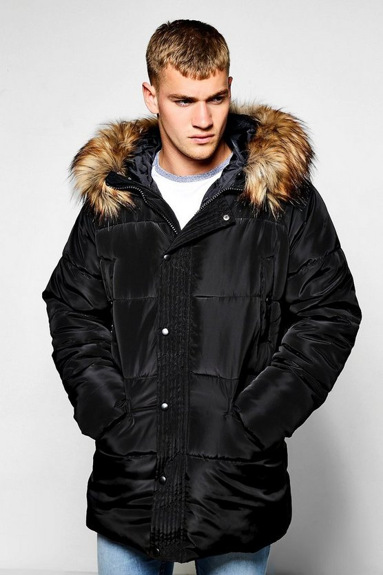 Quilted Parka with Oversized Faux Fur Hood